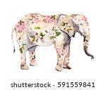 elephant animal in flowers....   Shutterstock . vector #591559841