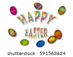 happy easter colorful holiday... | Shutterstock . vector #591563624