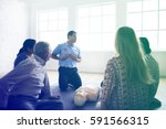 cpr first aid training... | Shutterstock . vector #591566315