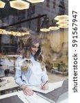 beautiful young business woman... | Shutterstock . vector #591567947
