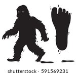 Stock vector vector silhouette bigfoot character bigfoot track 591569231