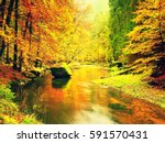 Autumn River. Colorful Forest...