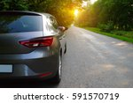 car on asphalt road in nature. ...   Shutterstock . vector #591570719