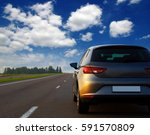 silver car and on the road | Shutterstock . vector #591570809