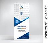 banner roll up vector  blue... | Shutterstock .eps vector #591571571