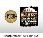 old west poker badges | Shutterstock .eps vector #591584465