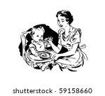 mother feeding baby   retro... | Shutterstock .eps vector #59158660