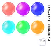 set of six multicolored... | Shutterstock .eps vector #591594164