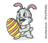 easter bunny rabbit with easter ... | Shutterstock .eps vector #591595481