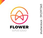 flower logo circle abstract... | Shutterstock .eps vector #591597365