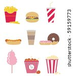 vector set of nine icons fast... | Shutterstock .eps vector #59159773