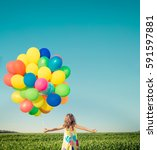 happy child playing with bright ... | Shutterstock . vector #591597881