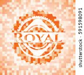 royal orange mosaic emblem with ... | Shutterstock .eps vector #591598091