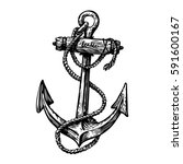 hand drawn vintage anchor with... | Shutterstock .eps vector #591600167