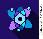 atom icon. flat illustration of ... | Shutterstock .eps vector #591607655