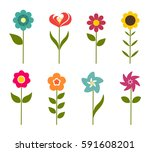 colorful flowers icons. vector... | Shutterstock .eps vector #591608201
