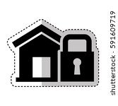 house insurance with padlock...   Shutterstock .eps vector #591609719