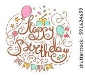 happy birthday text. | Shutterstock .eps vector #591624659