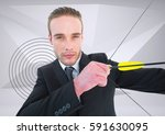 businessman aiming with bow and ... | Shutterstock . vector #591630095