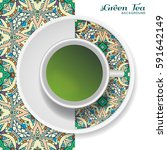 cup of green tea with doodle... | Shutterstock .eps vector #591642149