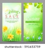 spring sale banners. vector set.... | Shutterstock .eps vector #591653759