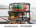 Crab Pots  Traps Stacked In...