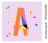 vector letter a memphis style... | Shutterstock .eps vector #591664385