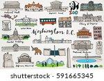 washington dc monuments  ... | Shutterstock .eps vector #591665345