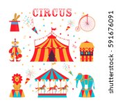 circus set with clown  bike ... | Shutterstock .eps vector #591676091