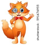 hipster fox in a monocle and... | Shutterstock . vector #591676955