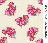 seamless floral pattern with... | Shutterstock .eps vector #591679535