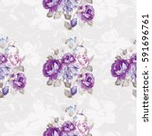 seamless floral pattern with... | Shutterstock .eps vector #591696761
