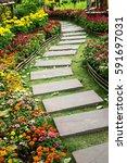 Walk Way In Flower Garden