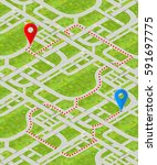 detailed city map in isometric... | Shutterstock .eps vector #591697775