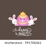 happy easter eggs and bunny | Shutterstock .eps vector #591706361