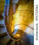 stone spiral staircase | Shutterstock . vector #591722561