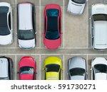 empty parking lots  aerial view.   Shutterstock . vector #591730271