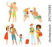 tourists people set vector... | Shutterstock .eps vector #591734585