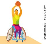disabled athlete playing... | Shutterstock .eps vector #591735494