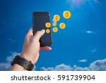 hold smartphone apps make money ... | Shutterstock . vector #591739904