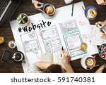 webpage content design website... | Shutterstock . vector #591740381
