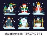 winter holidays snowman... | Shutterstock .eps vector #591747941