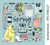 hand drawn fashion illustration.... | Shutterstock .eps vector #591748127