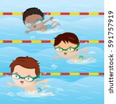kids practice swimming in the... | Shutterstock .eps vector #591757919