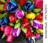 Colorful Wooden Tulip Flowers ...