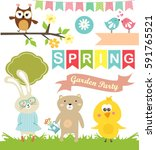 spring stickies and labels | Shutterstock .eps vector #591765521