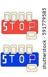 blue and red stop table sign... | Shutterstock .eps vector #591779585
