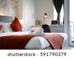 bedroom hotel | Shutterstock . vector #591790379