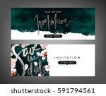 trendy spring flowers vector... | Shutterstock .eps vector #591794561