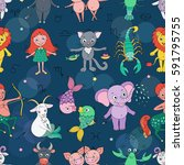 funny seamless pattern with... | Shutterstock .eps vector #591795755